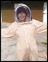 Libby in a bee suit