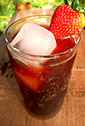 Strawberry shrub in seltzer